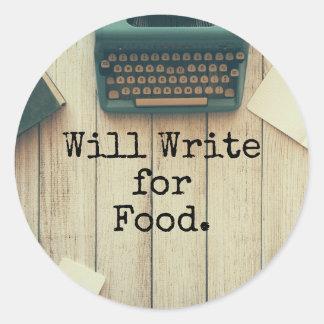 Författare ska skriva för mat runt klistermärke