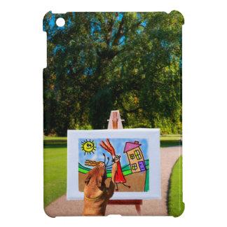 Förfölja att måla en tecknad med borstar i iPad mini skydd