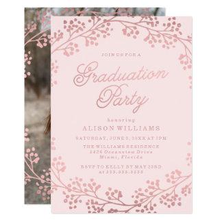 Förgylld rosa guld- studentfestinbjudan 12,7 x 17,8 cm inbjudningskort