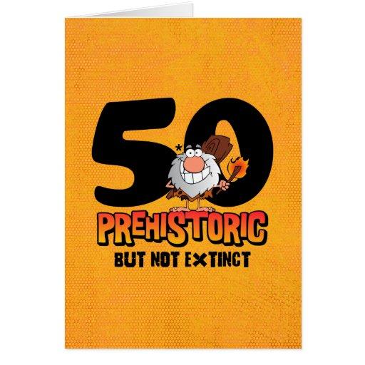 Förhistorisk 50th födelsedag hälsnings kort
