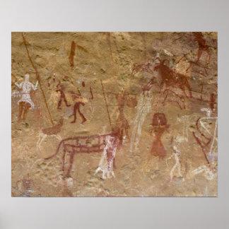 Förhistoriska stenmålningar, Akakus, Sahara Poster