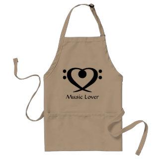 Förkläde för älskare för basklavhjärtamusik