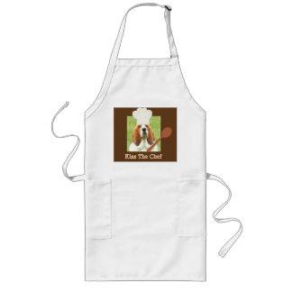"""Förklädet """"kyssa för kocken"""" med bassethundkock långt förkläde"""