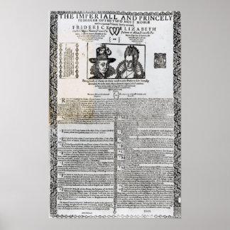 Förklaring av giftermål av Frederick V Poster