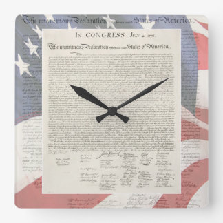 Förklaringen av självständighetväggen tar tid på fyrkantig klocka