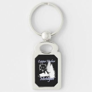 Förkoppra björnen Keychain 2 för hamnMichigan Rektangulärt Silverfärgad Nyckelring