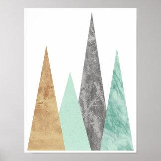 Förkoppra och Mint berg. Geometrisk skandinav Poster