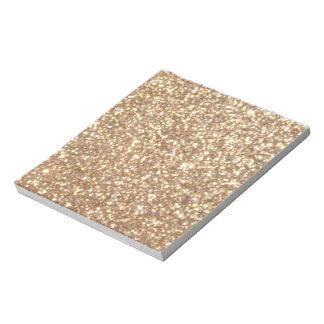 Förkoppra rosa guld- metalliskt glitter anteckningsblock