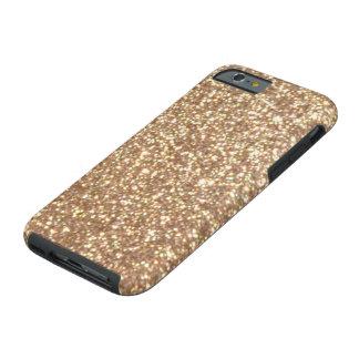 Förkoppra rosa guld- metalliskt glitter tough iPhone 6 skal