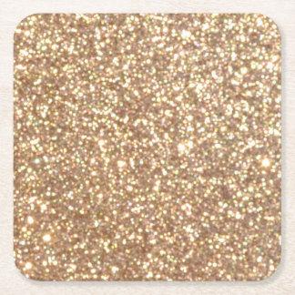 Förkoppra rosa guld- metalliskt glitter underlägg papper kvadrat