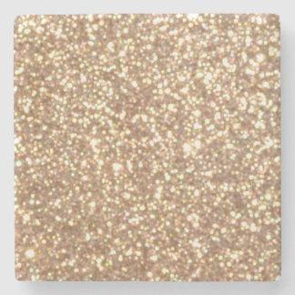 Förkoppra rosa guld- metalliskt glitter underlägg sten