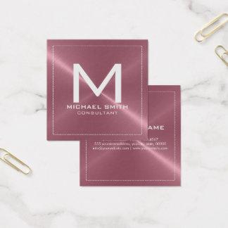 Förkopprar eleganta moderna för Monogram rostfri Fyrkantigt Visitkort