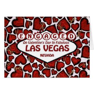 Förlovat på valentin dag i det Las Vegas kortet Hälsningskort