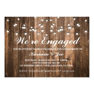 Förlovninginbjudanträ och ljus 12,7 x 17,8 cm inbjudningskort