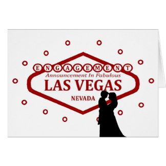 Förlovningmeddelande i det Las Vegas kortet Hälsnings Kort