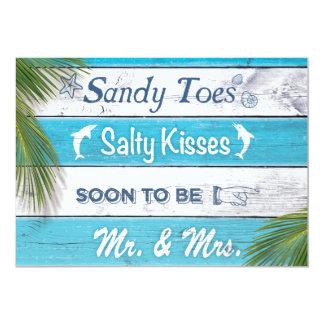Förlovningsfest för kyssar för sandiga Toes för 12,7 X 17,8 Cm Inbjudningskort
