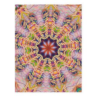 Formad kall Psychedelic pastellfärgad Mandala Vykort