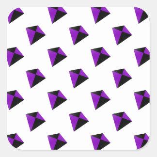 Formade drakar för lilor och för svart diamant fyrkantigt klistermärke