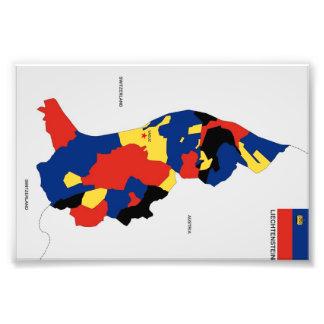 formar den politiska kartan för liechtenstein land fotografiskt tryck