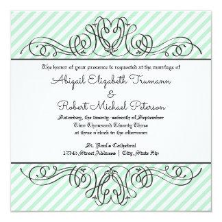 Formell blom- krusidull för Mint - bröllopinbjudan Fyrkantigt 13,3 Cm Inbjudningskort