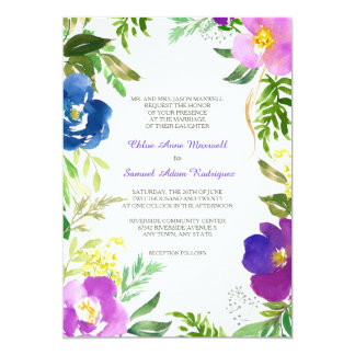Formellt bröllop för blåttVioletträdgård 12,7 X 17,8 Cm Inbjudningskort