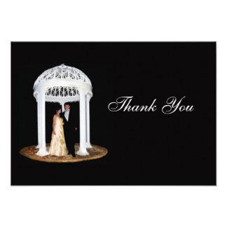 Formellt svart bröllop tackar dig att card anpassade inbjudan