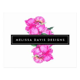 Formgivare för blommigt för vattenfärgpiongrupp vykort