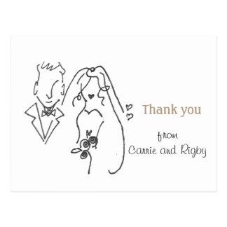 Formgivare kopplar ihop brölloptackkortet vykort