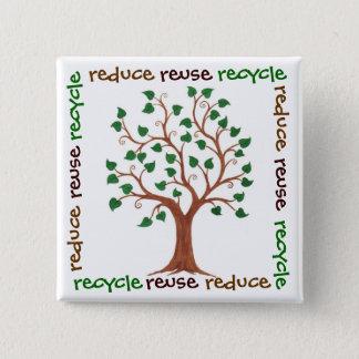 Förminska, återanvända, återvinnan - standard kanpp fyrkantig 5.1 cm
