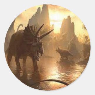 forntida dinosaur runt klistermärke