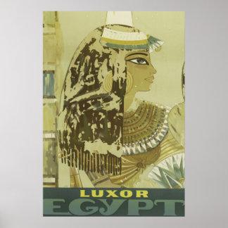 Forntida egyptisk drottningvintage Luxor reser Poster