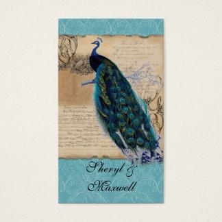 Forntida favörer för påfågelvintage visitkort