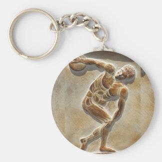 Forntida grekisk diskusThrower - Discobolus Rund Nyckelring