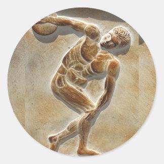 Forntida grekisk diskusThrower - Discobolus Runt Klistermärke
