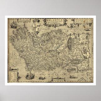 Forntida Irland Ortelius karta som dras av Baozio  Poster