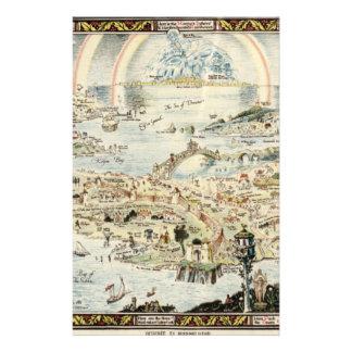 Forntida karta av Fairyland vid den Bernard Flygblad