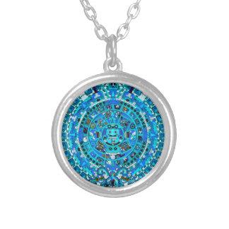 Forntida Mayan Aztec ~ för kalenderhängehalsband Silverpläterat Halsband