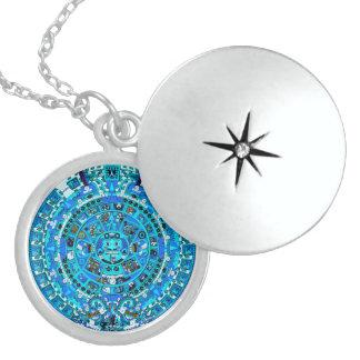 Forntida Mayan Aztec hänge~ Sterling Silver Halsband