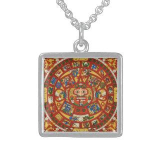 Forntida Mayan Aztec symbol Sterling Silver Halsband