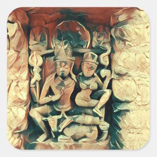 Forntida Shiva och Parvati Fyrkantigt Klistermärke