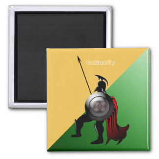 Forntida spartansk krigaregrönt och gult magnet