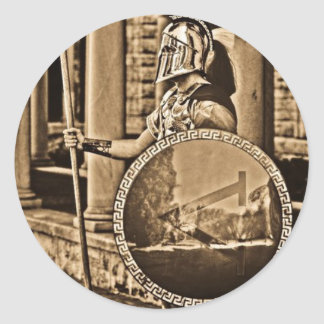 forntida spartanskt runt klistermärke
