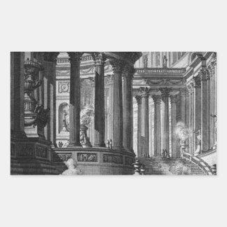 Forntida tempel som uppfinns och som är designat i rektangulärt klistermärke