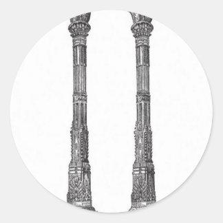 Forntida tempelkolonndesign runt klistermärke
