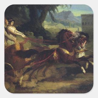 Forntida triumfvagntävling fyrkantigt klistermärke