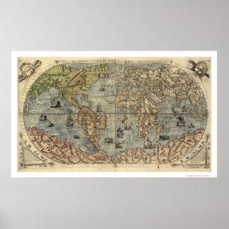 Forntida världsForlani karta av Paolo Forlani 1565 Poster