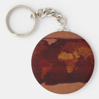 Forntida världskarta rund nyckelring