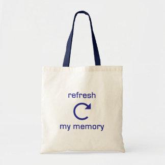 Förnya mitt minne (blåtttext) tote bags