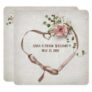 förnyande-band för bröllopvow hjärta med ringar fyrkantigt 13,3 cm inbjudningskort