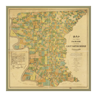 Församling av östliga Baton Rouge, Louisiana karta Canvastryck